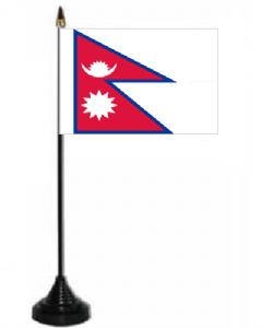 Nepal Desk / Table Flag with plastic stand and base.